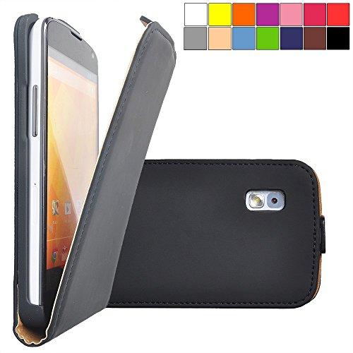 COOVY® Cover für LG LG Google Nexus 4 E960 Slim Flip Case Tasche Etui inklusive gratis Displayschutzfolie | Farbe schwarz - 4 Defender Case