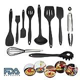 10 Pezzi Set di Utensili da Cucina in silicone Resistente al calore antiaderente accessori cucina con igienico rivestimento solido Nero