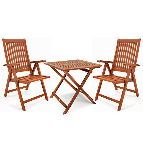 Deuba Balkonset 3-TLG Holz 2X Klappstuhl + 1 Tisch 70x70cm klappbar Balkon Garten Möbel Bistroset Sitzgruppe