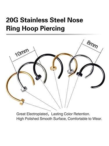 Edelstahl Nase Stud Ring Hoop Schmuck, 6 Stück