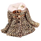 OverDose Damen Sweatblazer Coat Windbreaker Girls Princess Party Formal Faux Fur Leopard Coat Girls Warm Jacket Snowsuit Clothing Outerwear (Mehrfarbig,5-6Y)