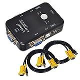ieGeek USB KVM Switch Box + Cavo VGA USB Per PC Monitor/Tastiere/Mouse (2 Porte) Massima compatibilitàCondivisione simultanea computer