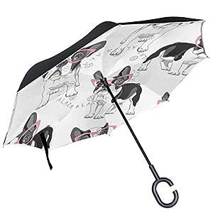 Alaza Regenschirm, französische Bulldogge, wendbar, doppelschichtig, winddicht, Rosa