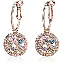 GoSparking Multi- Coloured cristallo oro rosa 18 carati placcato in lega orecchini del cerchio Anelli con cristallo austriaco per le donne