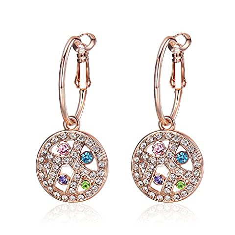 GoSparking Multi-Coloured Crystal 18K Rose Gold Plated Alloy Hoop Pierced Earrings with Austrian Crystal For Women ER28504