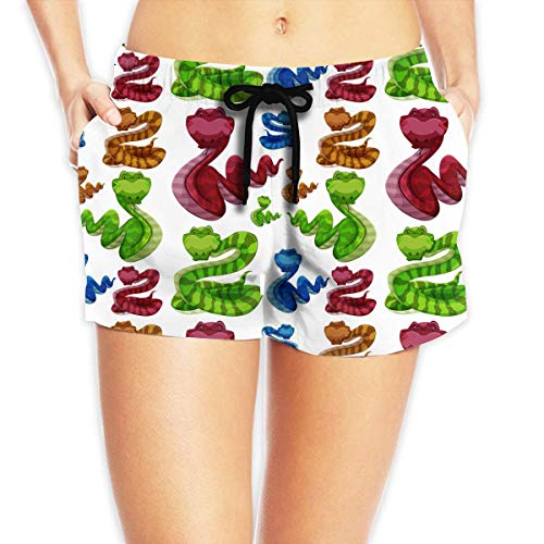 ERCGY Women's Beach Board Shorts Rattle Snakes Swim Trunks Briefs Swimsuit S (Trunk Rattle)