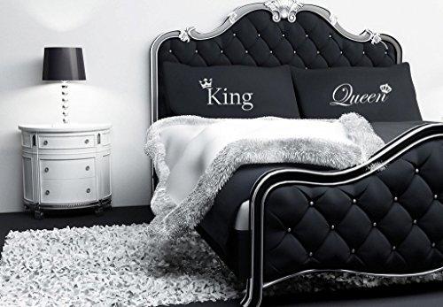 König und Königin Krone Schwarz Kissenbezug Paar von Paare Kissenbezug Kissenbezug Geschenk Bettwäsche Geschenk (König Königin Kronen Und)
