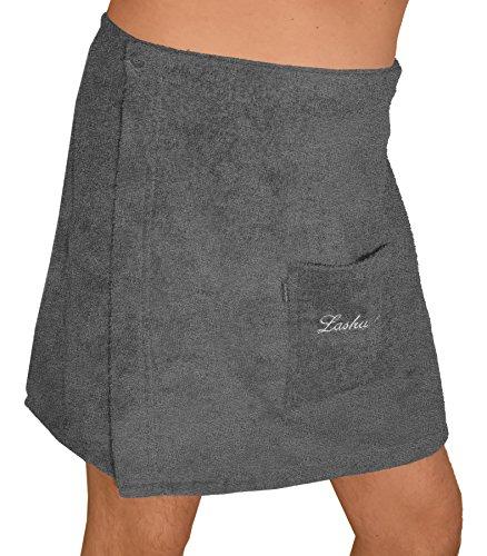 Lashuma panno da sauna a forma di kilt, per uomo, con bottoni, colore grigio, taglia: s/m o l/xl, 100% cotone, herrenkilt, l-xl