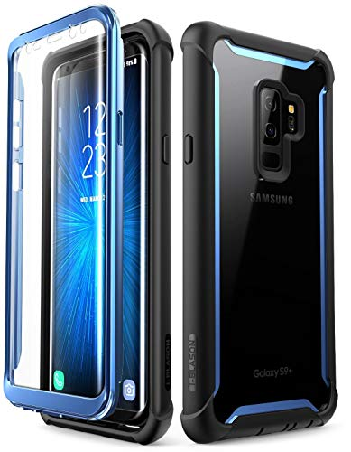 i-Blason Clear Bumper Case with Built in Screen Protector for Samsung Galaxy S9+ (Blue)