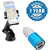 Drumstone Car Dashboard & Windshield Mount, Adjustable Car Mobile Phone Holder With Dual Port Metal Car Charger Which Can Produce Upto 2 Amp Output Compatible With Xiaomi, Lenovo, Apple, Samsung, Sony, Oppo, Gionee, Vivo Smartphones (One Year Warranty