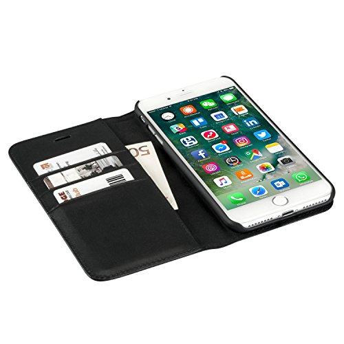 """iPhone 8 Plus / iPhone 7 Plus Hülle Kunstleder 2 in 1 Case Schwarz - CASEZA """"Zurich"""" PU Lederhülle Ledertasche Flip Cover Leder Tasche für das Apple iPhone 8 Plus & 7 Plus Case - Abnehmbares Backcover Schwarz iPhone 8 Plus & 7 Plus"""