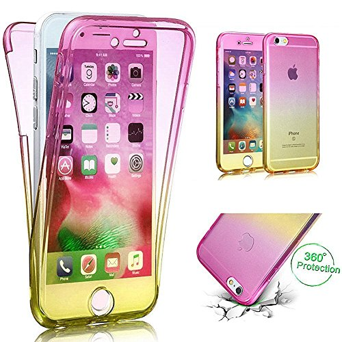 EUWLY [360 Gradi Full Body Custodia Protettiva Custodia Cover] Silicone Custodia per iPhone 6 Plus/iPhone 6s Plus,Cover TPU Custodia Case Trasparente Soft Morbido Silicone Custodia Shell Cover Ultra S Rosa+Giallo