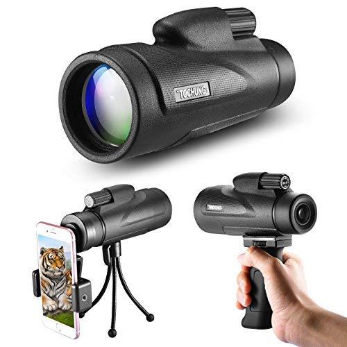 Fun Sponsor 12X50 Monokulares Hochleistungsteleskop mit Weitwinkelansicht und HD Zoom View, Wasserdicht, Mini Nachtsicht, optimal geeignet für Vogelbeobachtung/Jagd/Outdoor/Camping (#1)