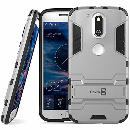 Moto G4Fall, Moto G4Plus Fall, Moto G (4. Gen) Fall coveron [Shadow Armor Serie] Hard Slim Hybrid Phone Cover für Motorola Moto G4Plus Moto G4Moto G (4. Gen)-Rot, Silber (Phone Moto G Cricket)