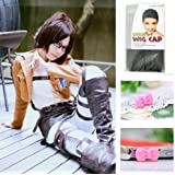 Japanese Anime Wigs @ Attack on Titan Hanji Zoe 45cm Short Straight with 25cm Straight Pigtail + Wigs Cap + Anti-dust Plug Stopper
