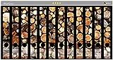 Wallario Ordnerrücken Sticker Dunkler Holzstapel rund in Premiumqualität - Größe 12 x 3,5 x 30 cm, passend für 12 Schmale Ordnerrücken