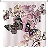 A.Monamour Impresión De La Mariposa De La Flor Espesa Larga La Tela Impermeable Y