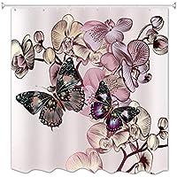 A.Monamour Impresión De La Mariposa De La Flor Espesa Larga Tela Impermeable Y Resistente