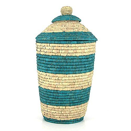 Wäschekorb mit Deckel aus Dattelpalmblatt - Fair Trade (blau)
