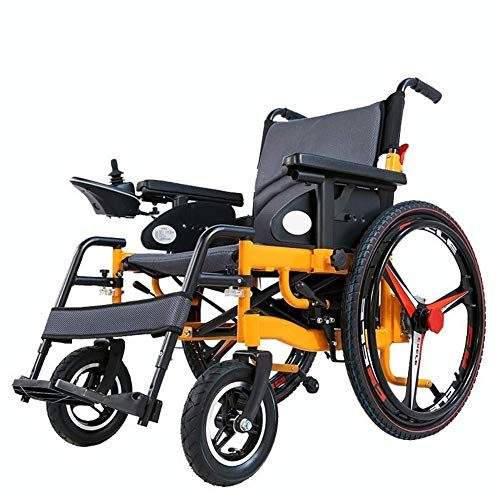 Mnjin Rollstuhl Elektrischer Transportstuhl Faltbarer zusammenklappbarer Leichtgewichtler Ältere Behinderte Intelligenter automatischer zusammenklappbarer Rollstuhl 25Km jh / 15km