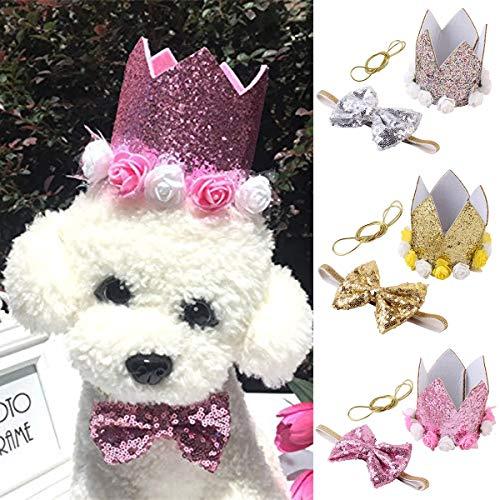 e Hut und Fliege Set für Hund Katze Haustier Geburtstagsparty Heimtierbedarf Zubehör (Color : Pink) ()