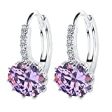 J * MYI de las mujeres 18K oro blanco claro cristal Swarovski Zircon pendientes de plata gancho para la oreja Crystal Rhinestone pendientes joyería morado