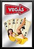 empireposter Las Vegas–CASINO–Cards–dimensioni (cm), ca. 20X 30–Specchio Con Cornice, nuovo–Descrizione:–quadro specchio da parete con cornice in plastica nera Effetto Legno