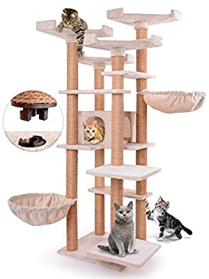 Leopet Cat Tree (164.2 cm High) Quick Connect Scratching Post with Large Condo and Lying Areas Playing Activity Centre Beige