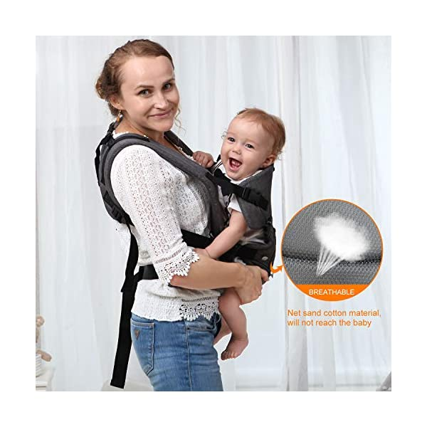 Xatan Baby Convertible Carrier, All Carry Position Newborn to Toddlers Ergonomic Carrier with Soft Breathable Air Mesh and All Adjustable Buckles Xatan ERGONOMIC CARRIER -- The premium quality baby carrier provides a convertible, ergonomic, facing-in/out,back carry etc different seat position, which offers the baby comprehensive care and support and also can help parents or carer free hands to do other work. PREMIUM QUALITY -- The Ergonomic Carrier is specialized customized with high quality and fine workmanship.Every details was revised repeatly! We are committes to offer the comfortable caring for your babies! COMFORTABLE HEAD/LEG SUPPORT -- The head and thigh support part can be adjusted according to the baby's body! The baby carrier will make sure the padded head support will hold small infants comfortably! 3