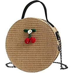 Eeayyygch Mujeres Retro Paja Cruz Crossbody Bolsos Bolso de la Cadena de la Cereza Boho Beach Bag Hadnbag Messenger Bag For Girl (Color : Caqui, tamaño : -)