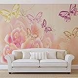 Schmetterlinge Blumen Rosen - Wallsticker Warehouse - Fototapete - Tapete - Fotomural - Mural Wandbild - (543WM) - XXXL - 416cm x 254cm - VLIES (EasyInstall) - 4 Pieces