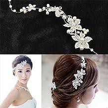 Interesting® Gioielli Signore da sposa fiore perle delicata bellezza  cristallo Chic fascia capelli Clip pettine 7026fbddde31