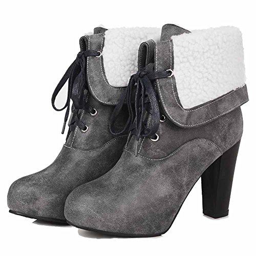 AgooLar Damen Schnüren Hoher Absatz Rein Knoten Niedrig-Spitze Stiefel, Grau, 39