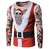 Showu Herre Weihnachten Printing Tops Bluse Weihnachtspullover Rundhals Langarmshirt Weihnachtsmotiv Weihnachtspulli Oberteile (Weihnachtsskelett, XL)