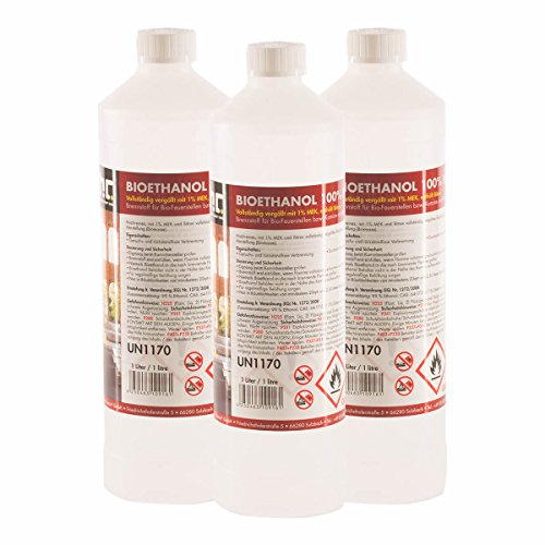 15 L Bio Ethanol Premium 100% (15 x 1 L) für Kamin - versandkostenfrei - in 15 sicheren 1 L Flaschen für den Gebrauch zuhause