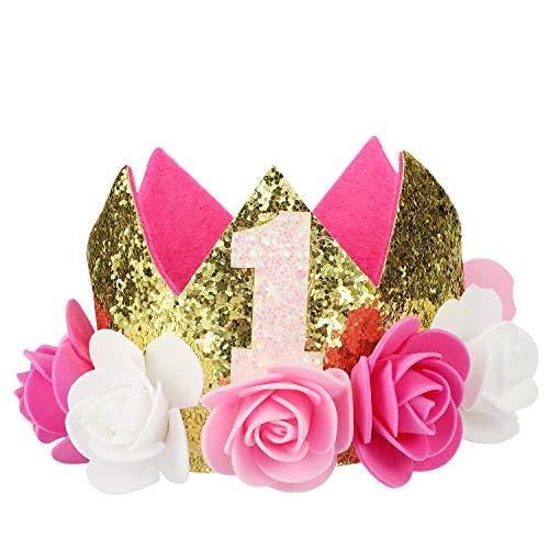 Hifot Bebé Primer cumpleaños Corona bebé Princesa Tiara Corona Oro Flor Estilo Corona Diadema Fiesta Sombrero Príncipe Princesa Flor Corona