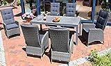Destiny Sitzgruppe Tampa Dining Twoline Grau Gartenmöbel Alu-Tisch HPL Platte