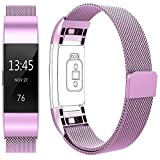Vancle Für Fitbit Charge 2 Armband, Edelstahl Armband uhren Watch Band Fitness für Fitbit Charge2 Ersatz Armbänd (Sakura Pulver, Small)