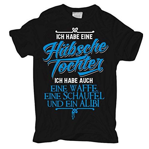 Männer und Herren T-Shirt Eine hübsche Tochter & eine Waffe Schwarz