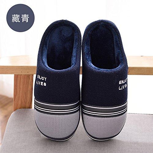 DogHaccd pantofole,Nella caduta di cotone pantofole inverno uomini e donne caldo inverno peluche spesse pantofole home soggiorno pacchetto coppie con le scarpe Semi-blu scuro2