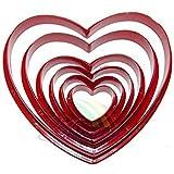 maltonyo176pcs/set Love Herz Form Biscuit Cookie Cake Maker Form Rand Schere DIY Backen Tools (rot)