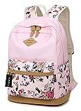 Tibes große Kapazität Leinwand Laptop Rucksack für Mädchen / Frauen Rosa