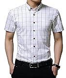 AIYINO Herren Kurzarm Hemd Slim Fit Baumwolle Casual Shirts 4 Farben zur Auswahl XS-XL (X-Large, G-Weiß)