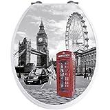 WENKO 20073100 Asiento tapa WC London motivo 3D - dispositivo automático de descenso, sujeción inoxidable, Duroplast, 38 x 45 cm, Multicolor