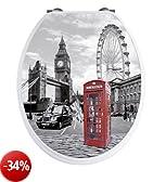 WENKO 20073100 Seduta WC Londra con effetto 3D - chiusura ammortizzata, armatura inossidable, Etilene vinil acetato, 38 x 45 cm, Multicolore