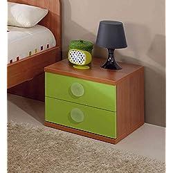 Abitti Mesita o mesilla de Noche con Dos cajones para Dormitorio Juvenil o Infantil Color Cerezo y Verde 37x45x46 cm
