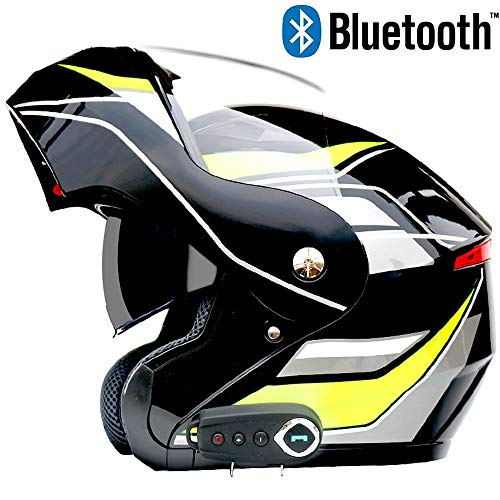 Leaf&Y Casco modulare Bluetooth Flip-up per Moto, Certificato D.O.T con Casco da Motociclista Fuoristrada da Corsa con Doppia Visiera Anti-Nebbia,XXL
