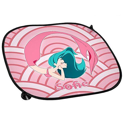 Preisvergleich Produktbild Auto-Sonnenschutz mit Namen Sofie und Meerjungfrau-Motiv | rosa | für Mädchen | Auto-Blendschutz | Sonnenblende | Sichtschutz