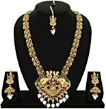#5: Matushri Art Indian Traditional Temple Jewelry of God Laxmi with Elephant Long Necklace Set for Women and Girls