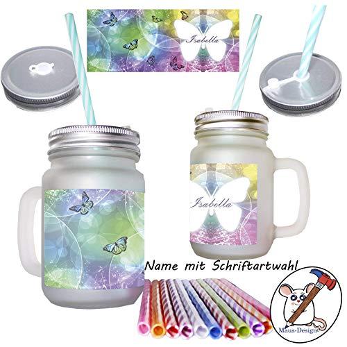 Schmetterlings Henkelglas mit Name/Mason Jar/mit Deckel und Mehrweg-Trinkhalm/Glas/Sommerglas mit Deckel, Henkel, Strohhalm/Schmetterlinge/Personalisiert/mit Name Namen (Mason Jar-schmetterling)